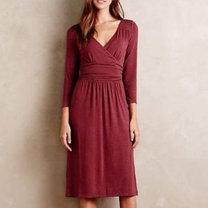 Anthropologie Maeve maroon midi draped dress
